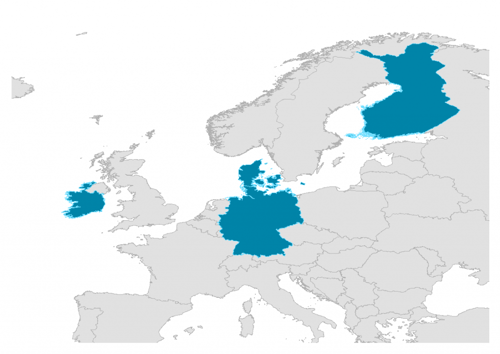 map of Europe with Denmark, Finland, Germany and Ireland highlighted.